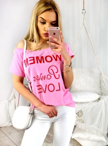 T-shirt WOMEN POWER LOVE - różowy