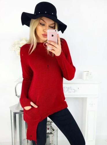 Sweterek POCKET - czerwony
