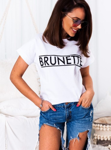 T-shirt BRUNETTE NEW - biały