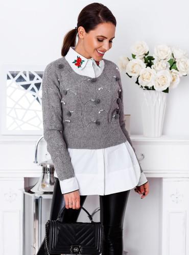 Sweterek MIMI z pomponami - szary