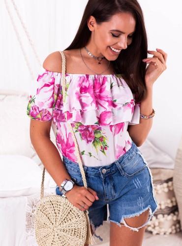 Bluzeczka Hiszpanka REVA - biała w różowe kwiaty