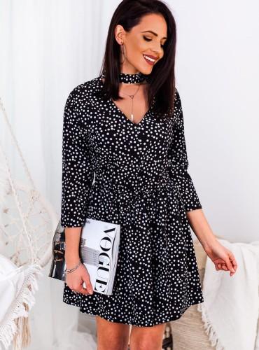 Sukienka AVILA  w grochy z chokerem - czarna