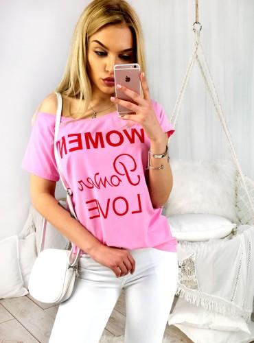 T-shirt WOMAN POWER LOVE - różowy