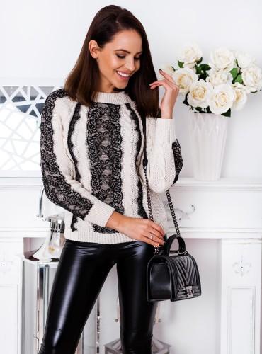 Sweter AMBER z koronką - beżowy