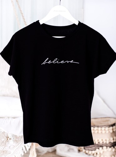 T-shirt BELIEVE - czarny