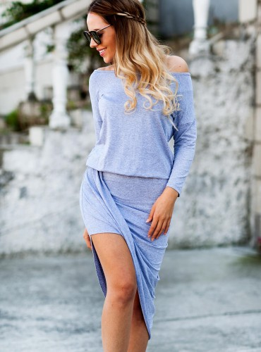 Sukienka GLORIA ASYMMETRIC - szara