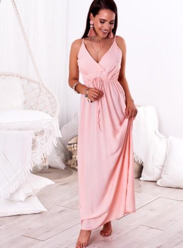 Sukienka MAXI NELLA - pudrowy róż