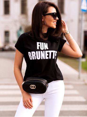 T-shirt FUN BRUNETTE - czarny
