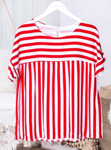 Bluzka w paski LOVER - czerwona