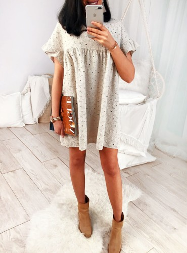 Sukienka BOHO BALI - beżowa