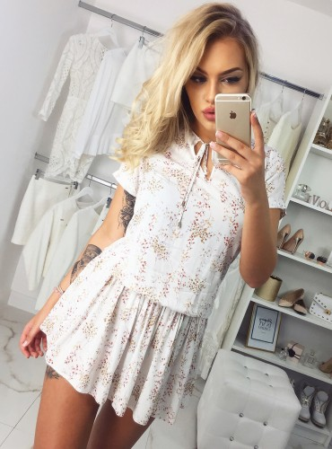 Sukienka ELIZA - kremowa w gałązki