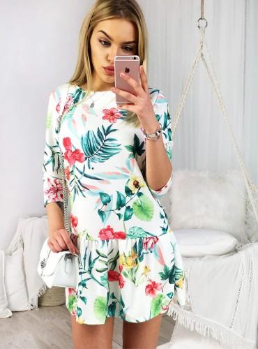 Sukienka LIBBY I - biała w zielone liście