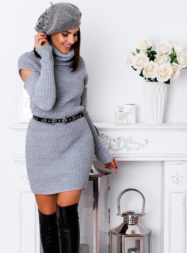 Sweter CAMILE bez ramion - szary