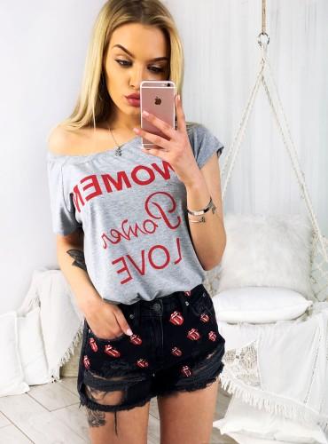T-shirt WOMAN POWER LOVE - szary
