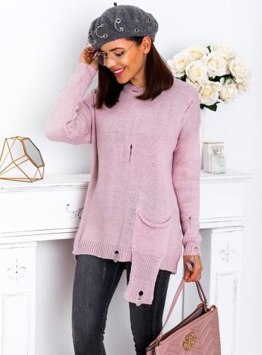 Sweterek POCKET - pudrowy róż