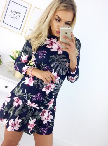Sukienka NOLLA - granatowa w kwiatki