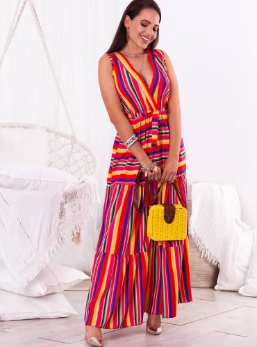 Sukienka MAXI BESS - czerwono żółta