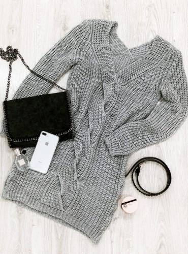 Długi sweterek Denisse - szary