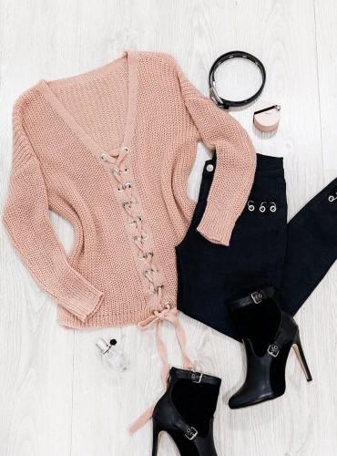 Sweterek MERIVA - pudrowy róż