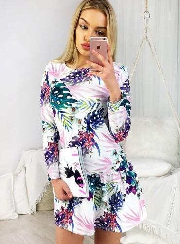 Sukienka LIBBY III - biała w fioletowe liście