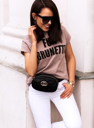 T-shirt FUN BRUNETTE - brudny róż/beż