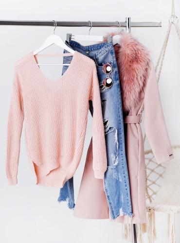 Sweterek Audrey - pudrowy róż