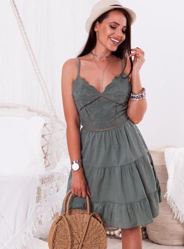 Sukienka ADINA wiązana na plecach - khaki
