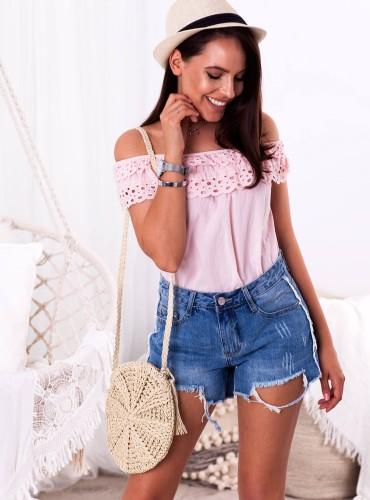 Bluzeczka hiszpanka TRACY - pudrowy róż