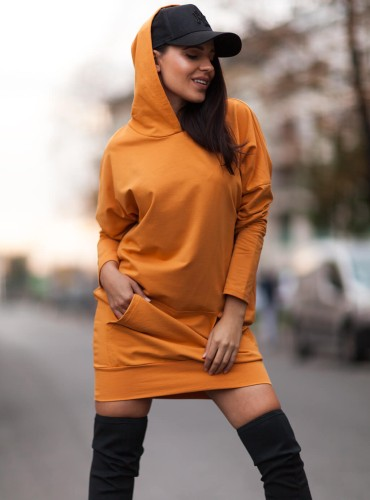 Bluza z kapturem BASIC SIMPLE - musztardowa