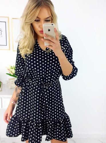 Sukienka w cienki groszek DANIKA - czarna