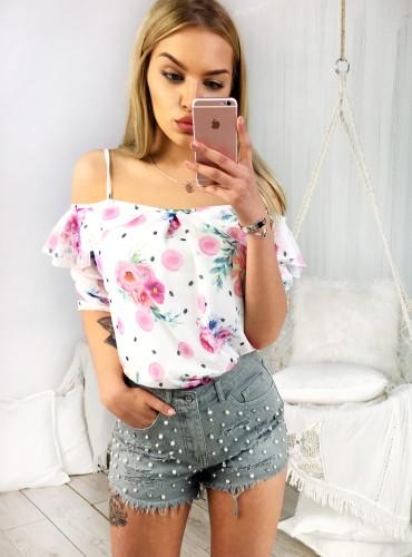 Bluzeczka bez ramion ELISA - biała w różowe róże