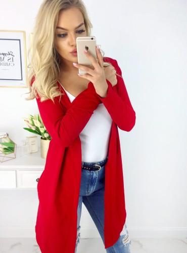 Bluza z kapturem COTTON - czerwona