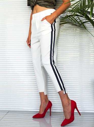spodnie dresowe z paskami - białe