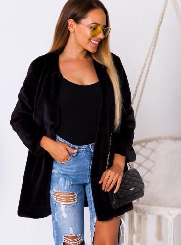 Futerkowy płaszczyk MAGGIE - czarny