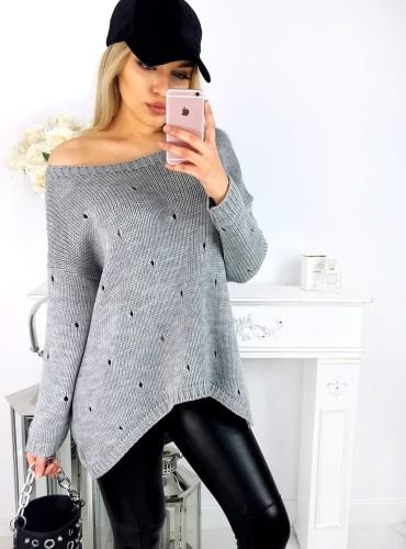 Sweterek z dziurami YASMINE - szary