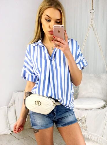 Koszula w paski TORI - baby blue