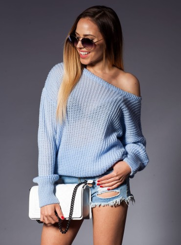 Sweter RUBI OVERSIZE BABY BLUE