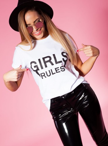 T-SHIRT GIRLS RULES WHITE