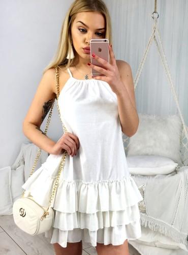 Sukienka na ramiączkach LAUREN - ecru