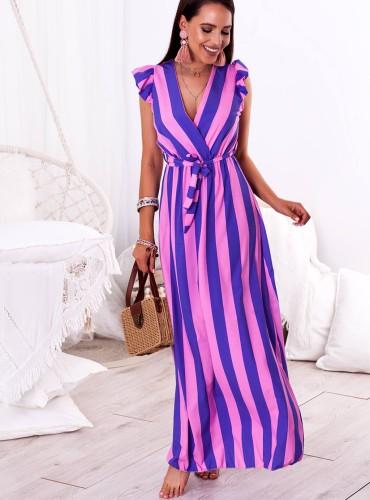 Sukienka MAXI INES - fioletowo różowe paski