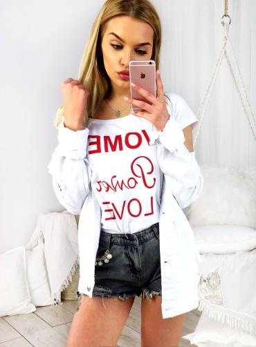 T-shirt WOMAN POWER LOVE - biały