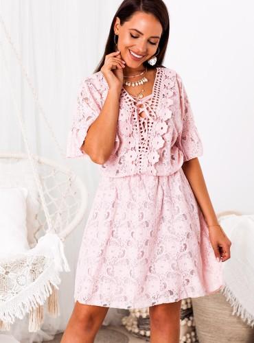 Sukienka BOHO DAMARIS - różowa