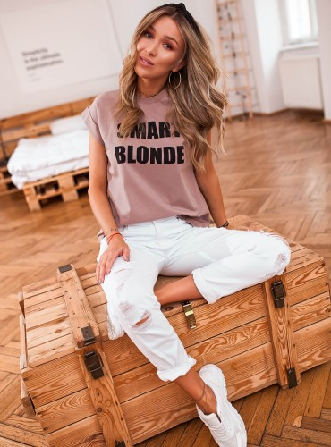 T-SHIRT SMART BLONDE - brudny róż/beż