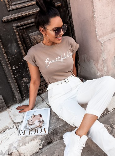 T-shirt BEAUTIFUL LIFE - beżowy