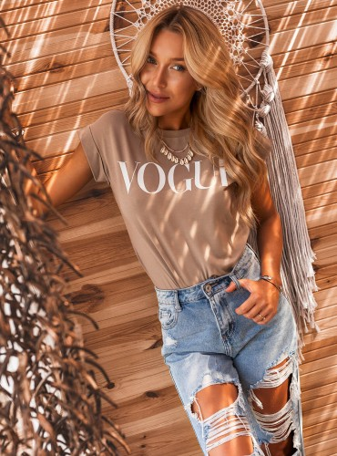 T-shirt VOGUE - beżowy