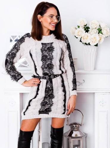 Sweter AMBER z koronką długi - beżowy