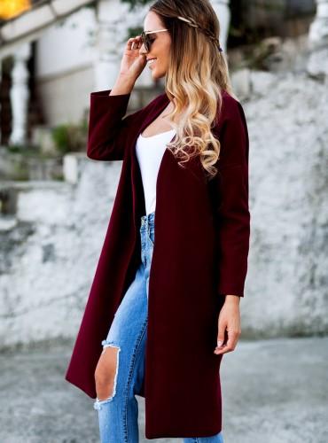 Płaszcz ALLY -  bordowy