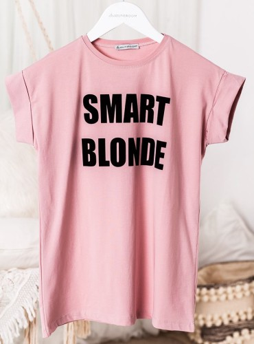 T-shirt SMART BLONDE - brudny róż