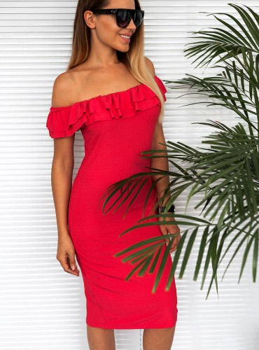 Sukienka z falbanką FREYA - malinowa