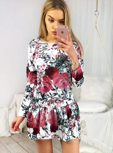 Sukienka LIBBY II - biała w bordowe kwiaty